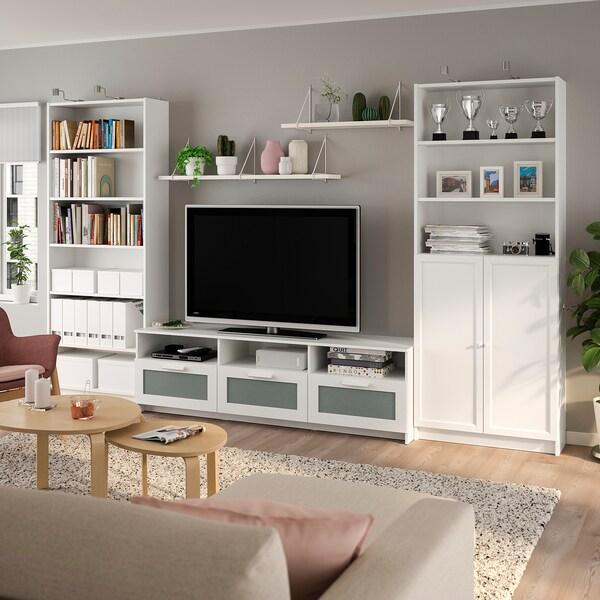 BILLY / BRIMNES Combinaison meuble TV, blanc, 340x41x202 cm