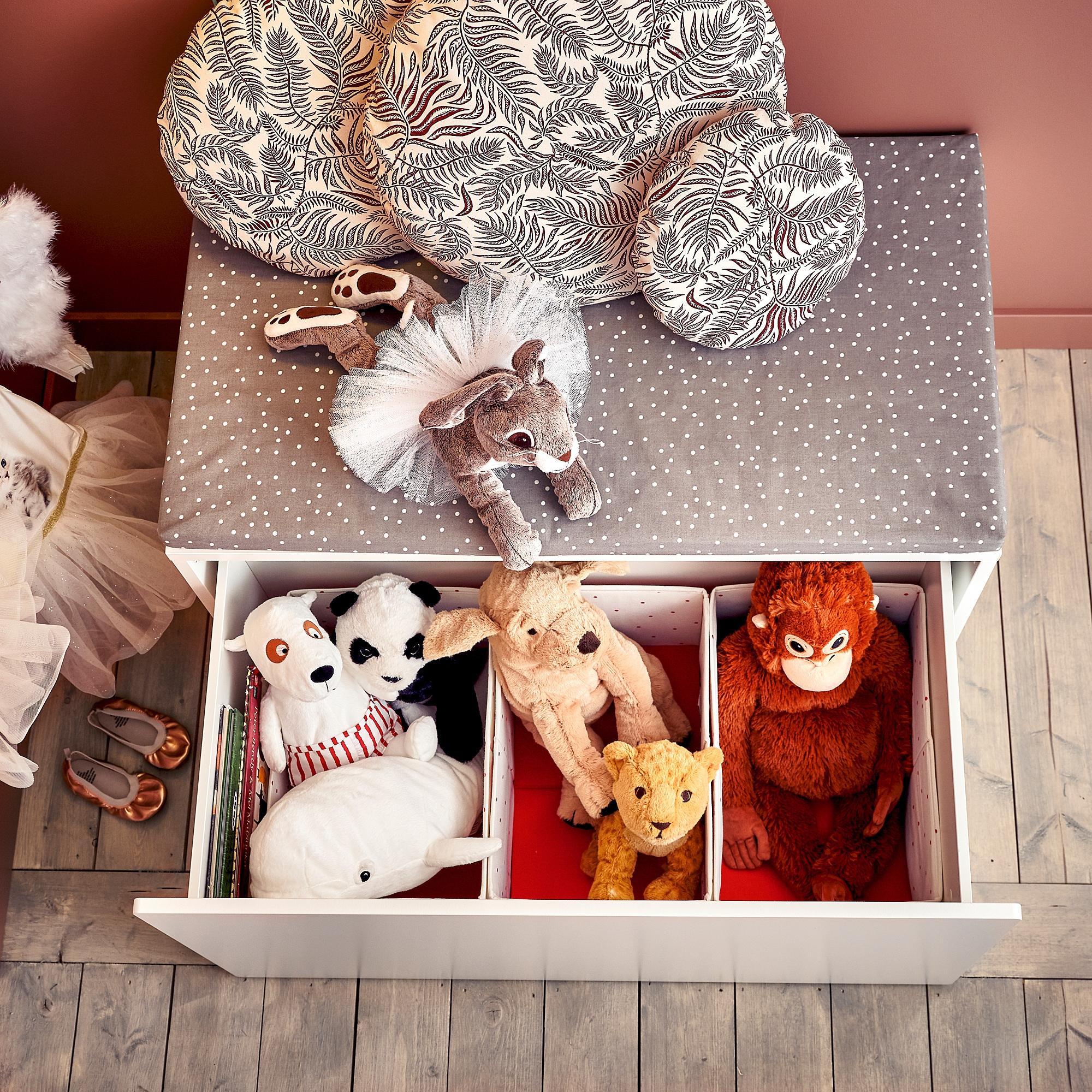 SMÅSTAD Benk med lekeoppbevaring hvitlys turkis IKEA