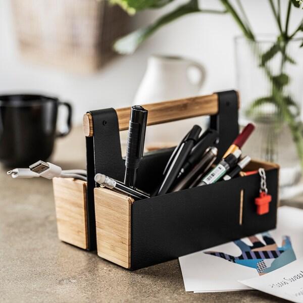 ANILINARE Organiseur bureau, bambou/noir, 18x13 cm