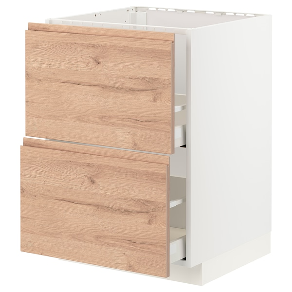 METOD / MAXIMERA Base cab f sink+2 fronts/2 drawers, white/Voxtorp oak effect, 60x60 cm