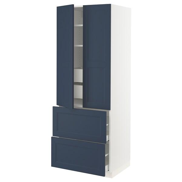 "SEKTION / MAXIMERA Armoire haute 2 portes/2 faces/4tir, blanc Axstad/mat bleu, 30x24x80 """