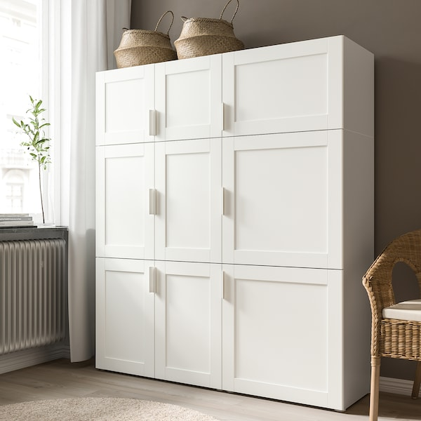 SANNIDAL Door with hinges, white, 60x60 cm
