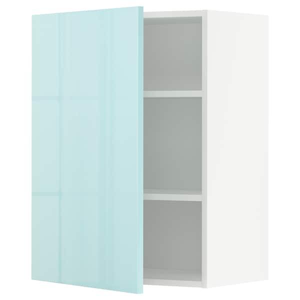 METOD Élément mural + tablettes, blanc Järsta/brillant turquoise clair, 60x80 cm