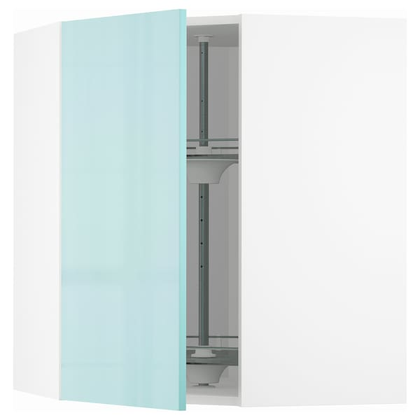 METOD Élément angle mural+rangement pivot, blanc Järsta/brillant turquoise clair, 68x80 cm