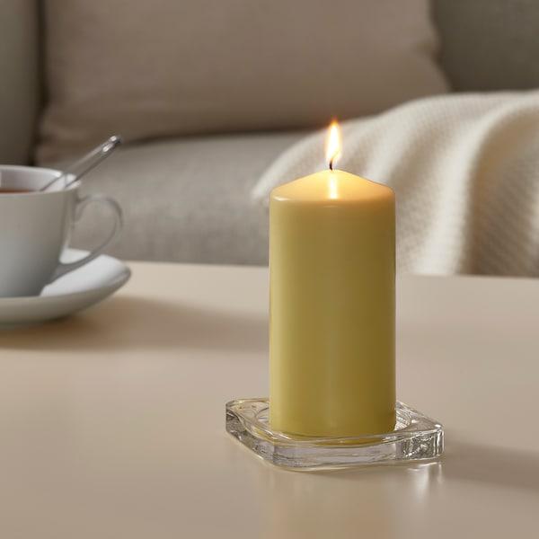 DAGLIGEN Bougie bloc non parfumée, jaune clair, 14 cm