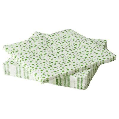 INBJUDEN Serviettes en papier, blanc/vert, 33x33 cm