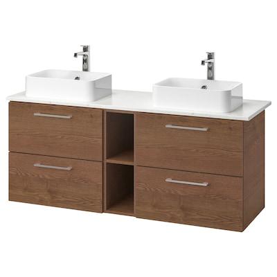 GODMORGON/TOLKEN / HÖRVIK Mobile/lavabo 45/piano appoggio, Gillburen effetto frassino mordente marrone/effetto marmo Miscel Brogrund, 142x49x72 cm