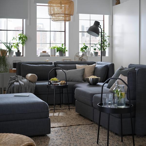 VALLENTUNA 4-seat modular sofa w 3 sofa-beds, and storage/Hillared/Murum dark grey/black