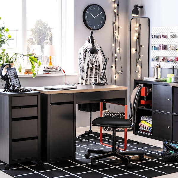 ÖRFJÄLL كرسي دوّار, أسود/Vissle أسود