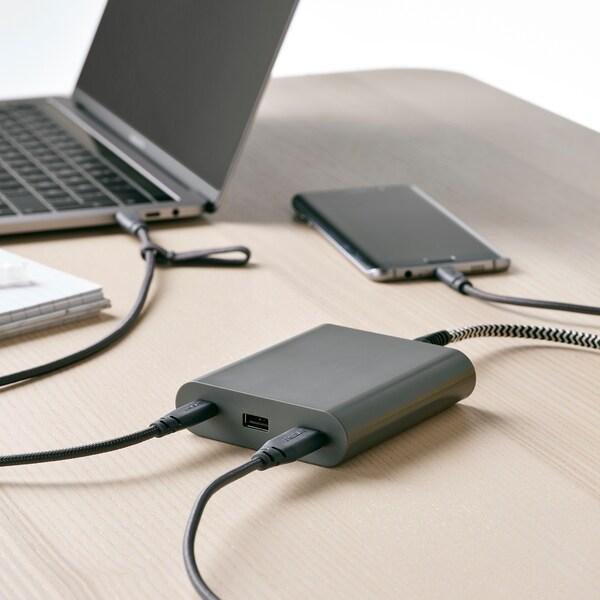 ÅSKSTORM شاحن 40W USB, رمادي غامق