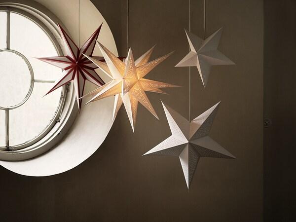 STRÅLA Pantalla para lámpara, 3D/lunares blanco, 67 cm