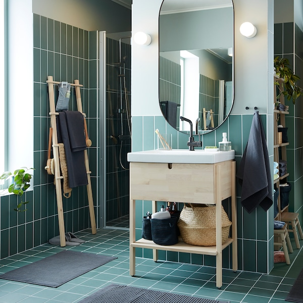 LINDBYN Mirror, black, 60x120 cm