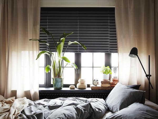 SCHOTTIS ШОТТИС Жалюзи плиссе, блокирующие свет, темно-серый, 100x190 см