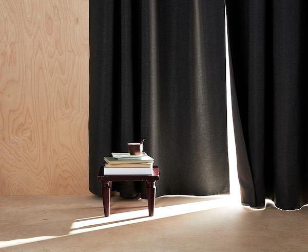ANNAKAJSA Room darkening curtains, 1 pair, grey, 145x300 cm