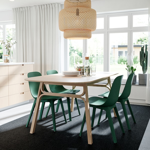 VOXLÖV / ODGER Mesa e 4 cadeiras, bambu/verde, 180x90 cm