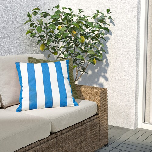 ИКЕА FUNKÖN, Внутренняя / внешняя наволочка, 404.384.76, синий, белый, 50x50 см