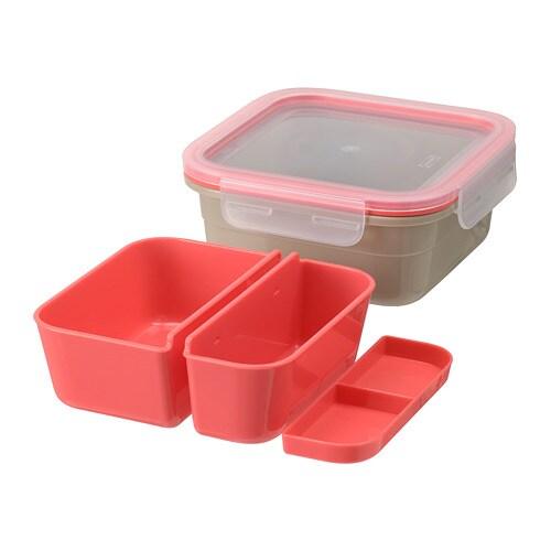 ИКЕА IKEA 365+, Коробка для завтрака с заправкой, 704.801.24, квадратный, бежевый светло-красный, 750 мл