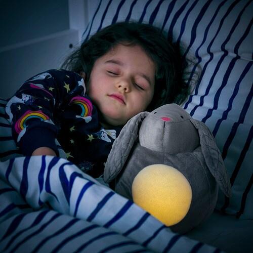 ИКЕА PEKHULT, Плюшевая игрушка, светодиодный ночник, 504.700.03, серый кролик, на батарейках, 19 см