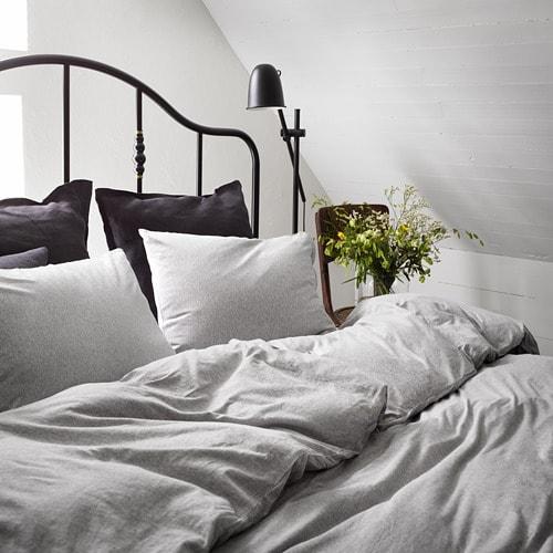 ИКЕА SPJUTVIAL, Комплект постельного белья, 204.797.74, светло-серый, меланж, 200x200 / 50x60 см