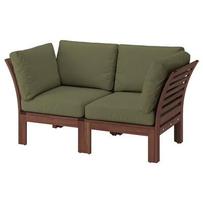 ÄPPLARÖ 2-osobowa sofa modułowa, zewn, brązowa bejca/Frösön/Duvholmen ciemny beżowo-zielony, 160x80x84 cm