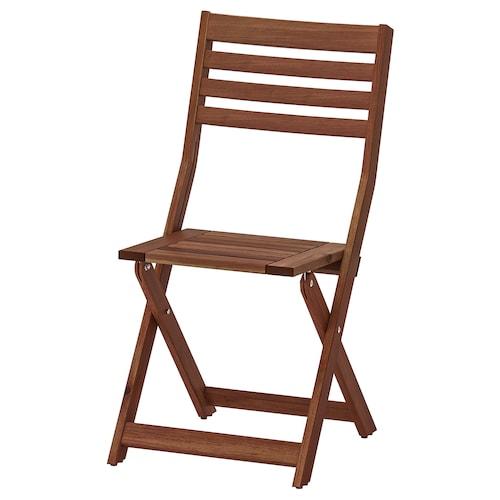 ÄPPLARÖ krzesło, ogrodowe składany brązowa bejca 110 kg 42 cm 56 cm 86 cm 38 cm 37 cm 44 cm