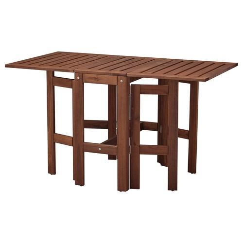 ÄPPLARÖ stół z kozłem, ogrodowy brązowa bejca 83 cm 34 cm 131 cm 70 cm 72 cm