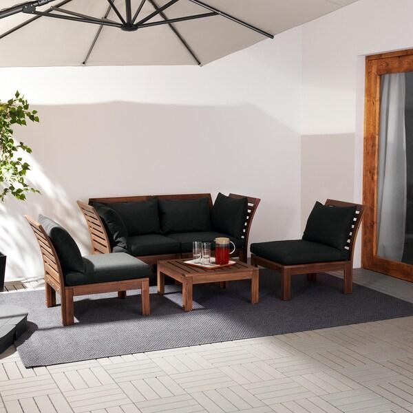 ÄPPLARÖ Komplet dla 4 osób, na zewnątrz, brązowa bejca/Hållö czarny