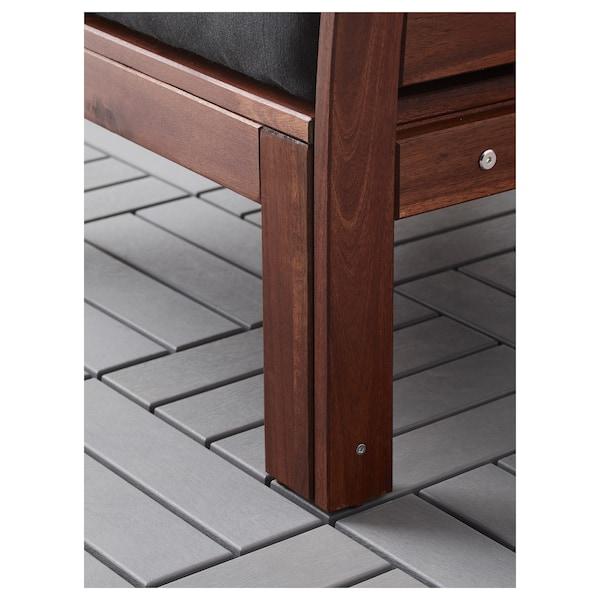 ÄPPLARÖ Modułowa sofa narożna 3-os zewn, brązowa bejca/Hållö czarny, 143/223x80x78 cm