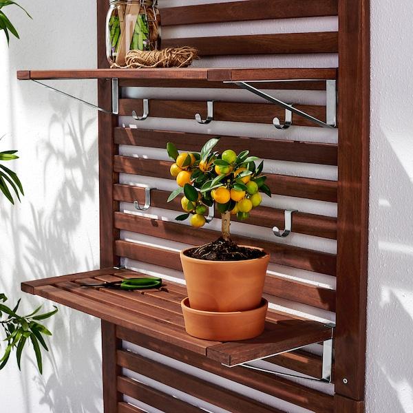 ÄPPLARÖ Panel ścienny+2 półki, ogrodowy, brązowa bejca, 80x30x158 cm