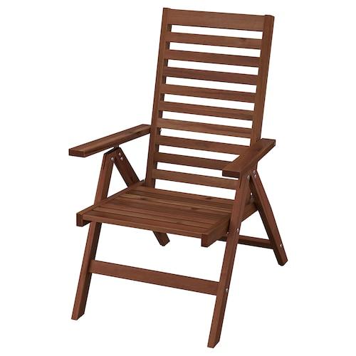 ÄPPLARÖ krzesło z regulowanym oparciem, ogr składany brązowa bejca 110 kg 63 cm 80 cm 101 cm 44 cm 48 cm 41 cm