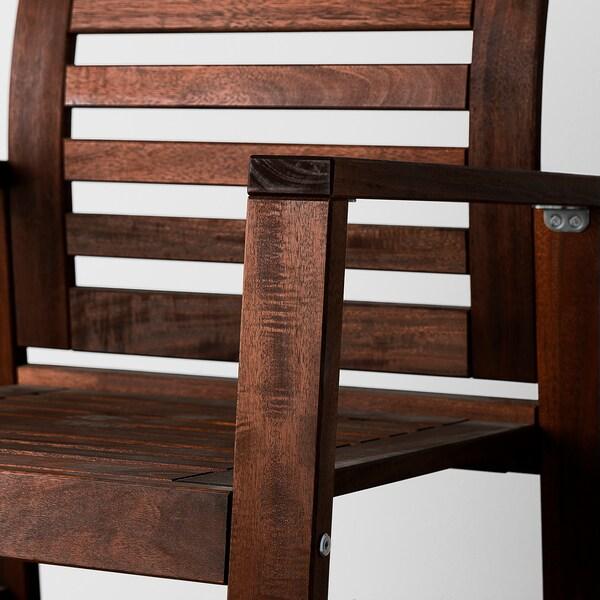 ÄPPLARÖ Stół+2 krzesła z podłok.+ława, zewnętrzne brązowa bejca