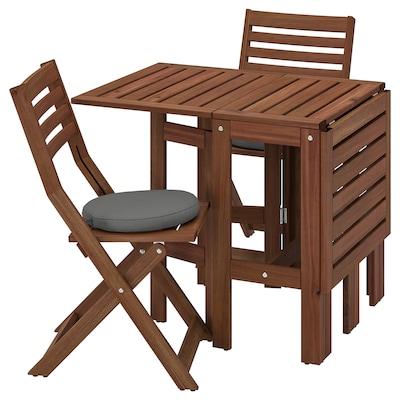 ÄPPLARÖ Stół+2 składane krzesła, na zewątrz, brązowa bejca/Frösön/Duvholmen ciemnoszary