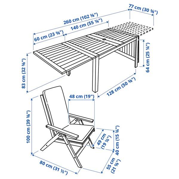ÄPPLARÖ Stół+4 rozkł. krzeseł, na zewnątrz, brązowa bejca/Frösön/Duvholmen beżowy