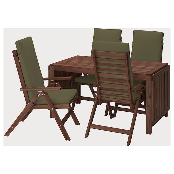 ÄPPLARÖ Stół+4 rozkł. krzeseł, na zewnątrz, brązowa bejca/Frösön/Duvholmen ciemny beżowo-zielony