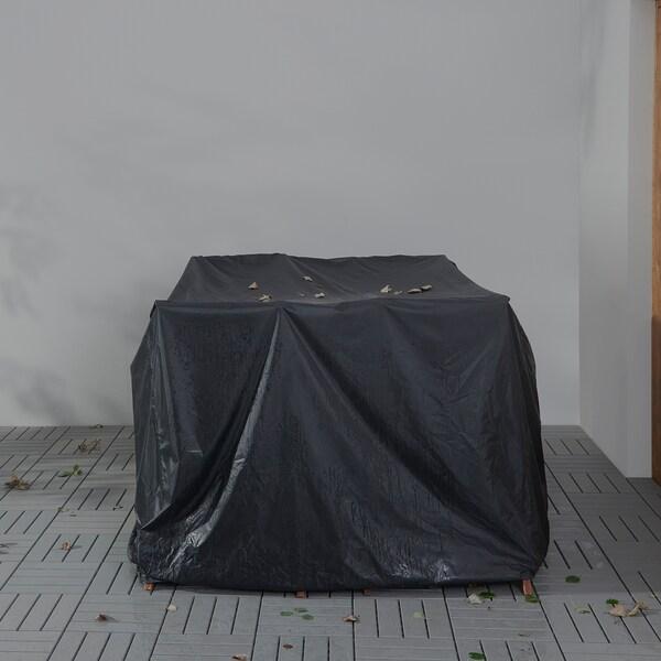 ÄPPLARÖ Stół+4 rozkł. krzeseł, na zewnątrz, brązowa bejca/Frösön/Duvholmen niebieski