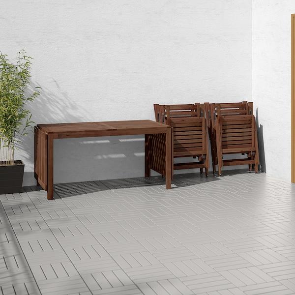 ÄPPLARÖ Stół+4 rozkł. krzeseł, na zewnątrz, brązowa bejca/Hållö beżowy