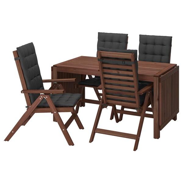 ÄPPLARÖ Stół+4 rozkł. krzeseł, na zewnątrz, brązowa bejca/Hållö czarny
