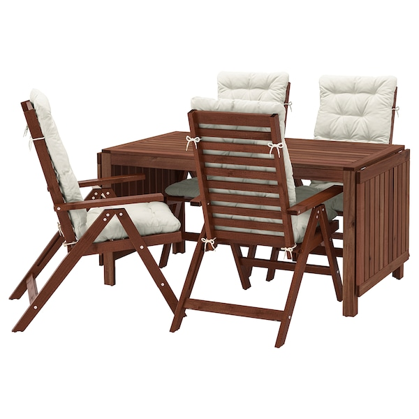 ÄPPLARÖ Stół+4 rozkł. krzeseł, na zewnątrz, brązowa bejca/Kuddarna beżowy