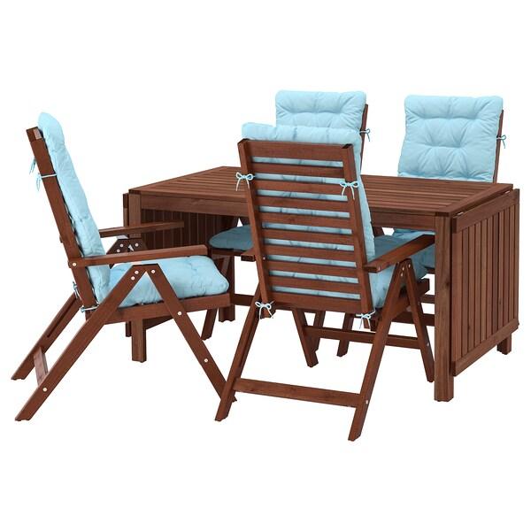 ÄPPLARÖ Stół+4 rozkł. krzeseł, na zewnątrz, brązowa bejca/Kuddarna jasnoniebieski