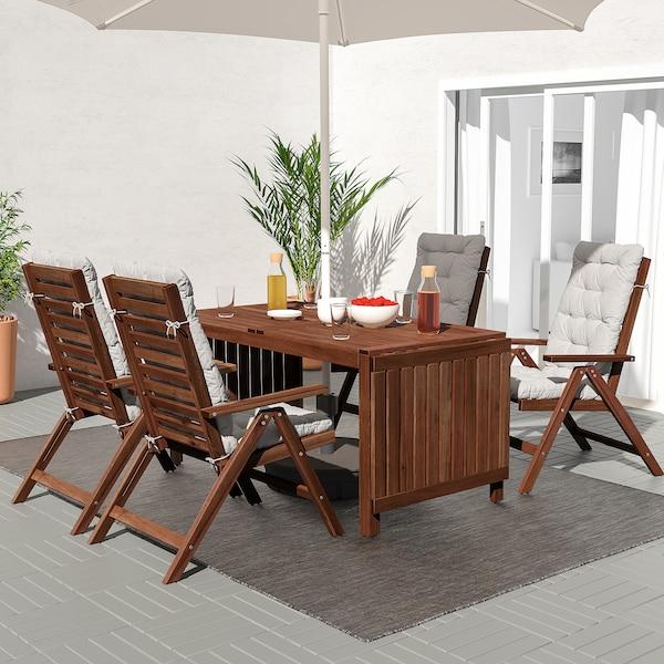 ÄPPLARÖ Stół+4 rozkł. krzeseł, na zewnątrz, brązowa bejca/Kuddarna szary
