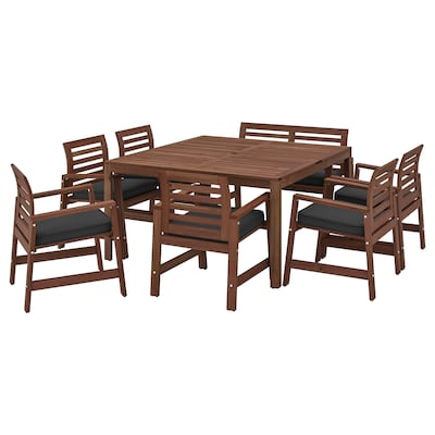 ÄPPLARÖ Stół+6 krzeseł z podłok+ława, zew., brązowa bejca/Järpön/Duvholmen antracyt
