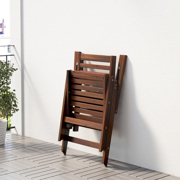 ÄPPLARÖ Stół+8 rozkł. krzeseł, na zewnątrz, brązowa bejca/Kuddarna beżowy