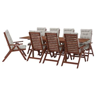 ÄPPLARÖ Stół+8 rozkł. krzeseł, na zewnątrz, brązowa bejca/Kuddarna szary