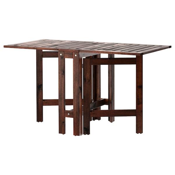 ÄPPLARÖ Stół z kozłem, ogrodowy, brązowa bejca, 20/77/133x62 cm