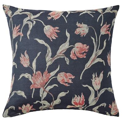 ÅLANDSROT Poduszka, granatowy/kwiatowy wzór, 50x50 cm