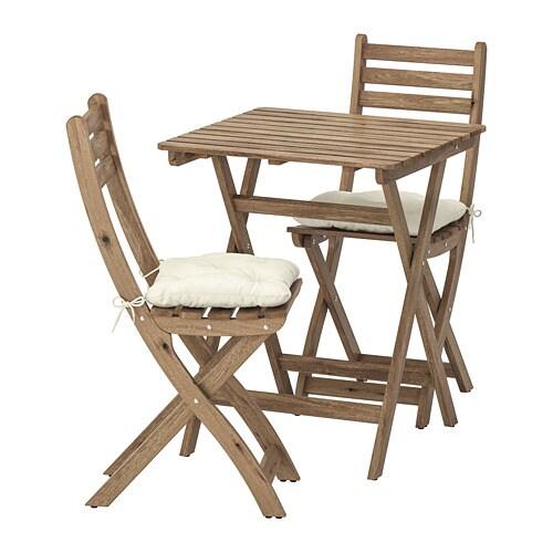 АСКХОЛЬМЕН Стол+2стула,д/сада, серо-коричневая морилка, Куддарна бежевый-1