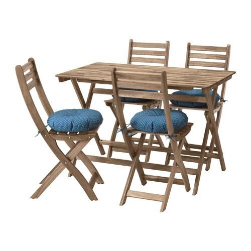 АСКХОЛЬМЕН Стол+4 стула, д/сада, серый/коричневый, Иттерон синий-1