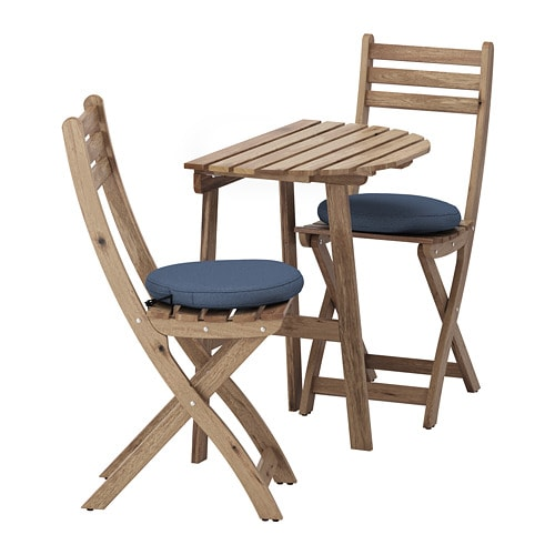 АСКХОЛЬМЕН Стол+2 складных стула, д/сада, серо-коричневая морилка, Frösön / Duvholmen синий-1