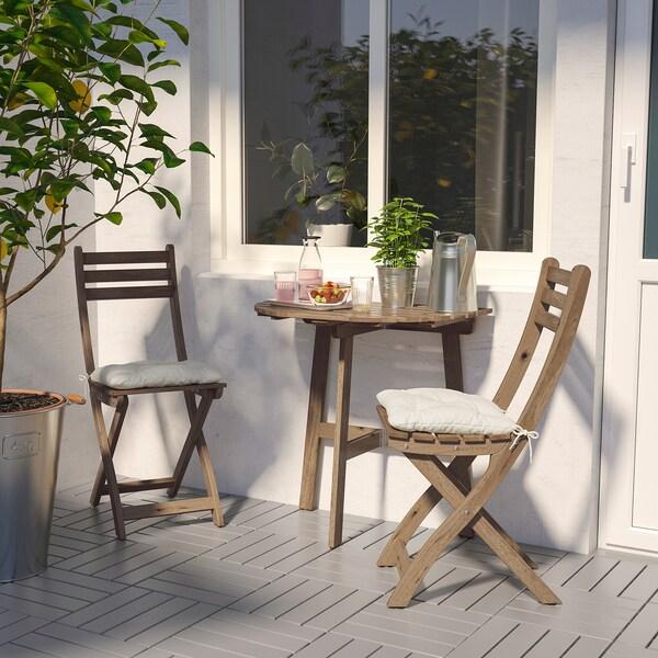 ASKHOLMEN Stół ogrodowy i 2 składane krzesła, szarobrązowa bejca