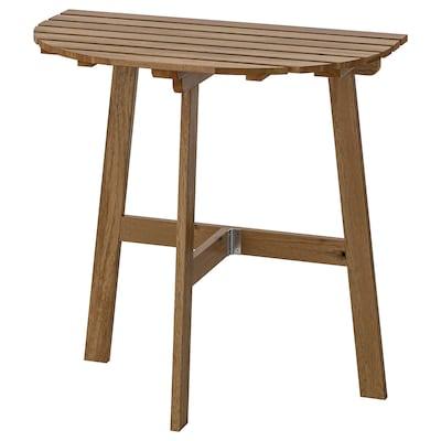 ASKHOLMEN Stół ścienny, na zewnątrz, składany bejca jasnobrązowa, 70x44 cm